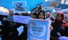 Photos..UNRWA staff strike in Gaza, demand end to cuts